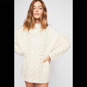 Free People  Braided Cable Pullover Sweater NWT